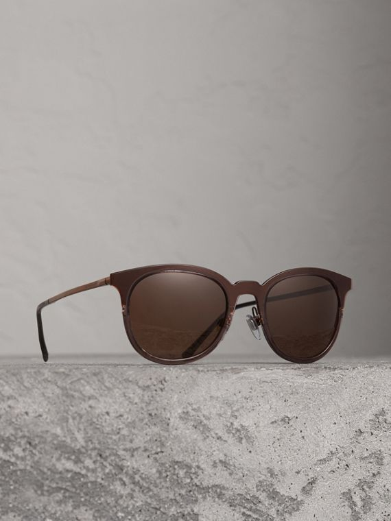 Round Frame Sunglasses in Burnt Orange