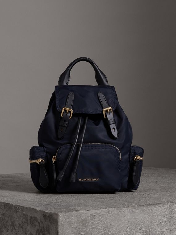 The Crossbody Rucksack in Nylon and Leather in Ink Blue