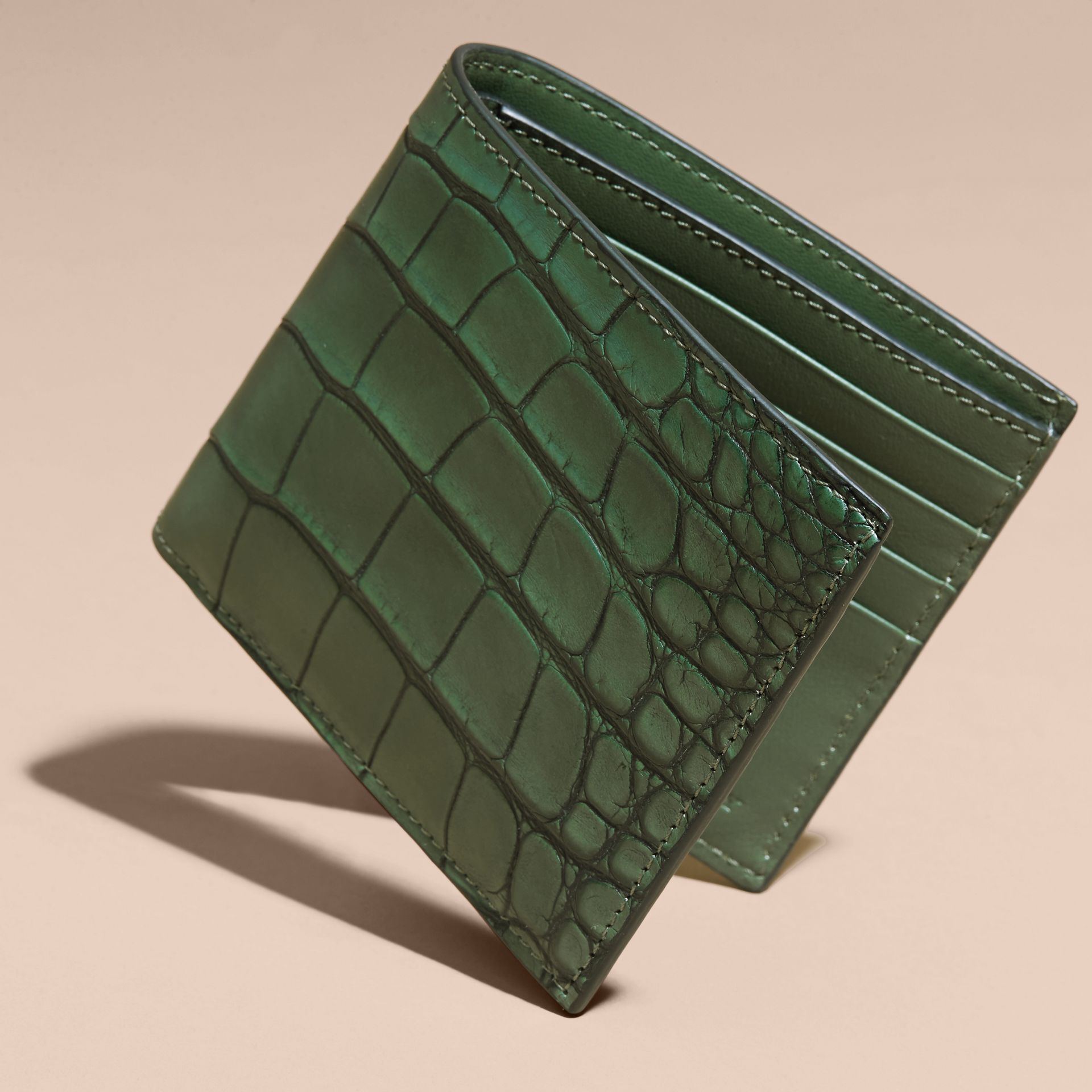 Alligator and Leather International Bifold Wallet - gallery image 3