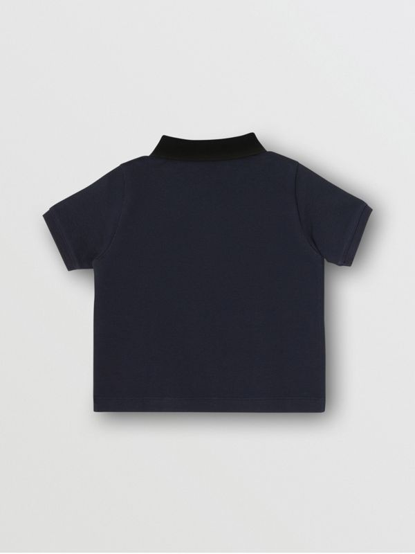 Vintage Check Panel Cotton Polo Shirt in Navy - Children | Burberry - cell image 2