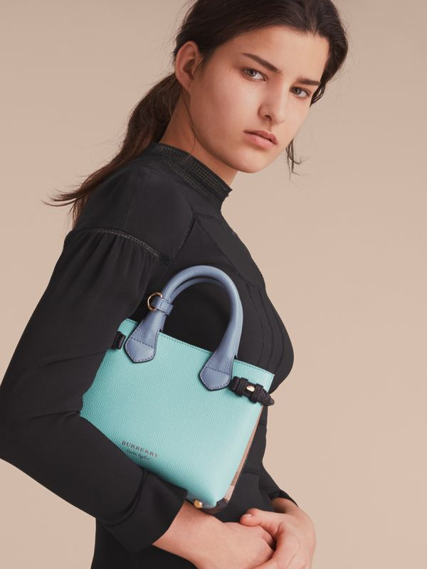The Baby Banner in Two-tone Leather and House Check in Pale Opal/slate Blue - Women | Burberry United States - cell image 2