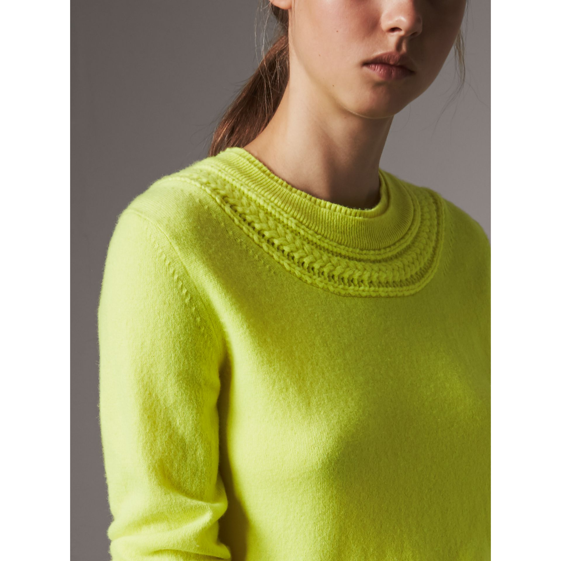Cable Knit Yoke Cashmere Sweater in Fluorescent Yellow - Women | Burberry Hong Kong - gallery image 1