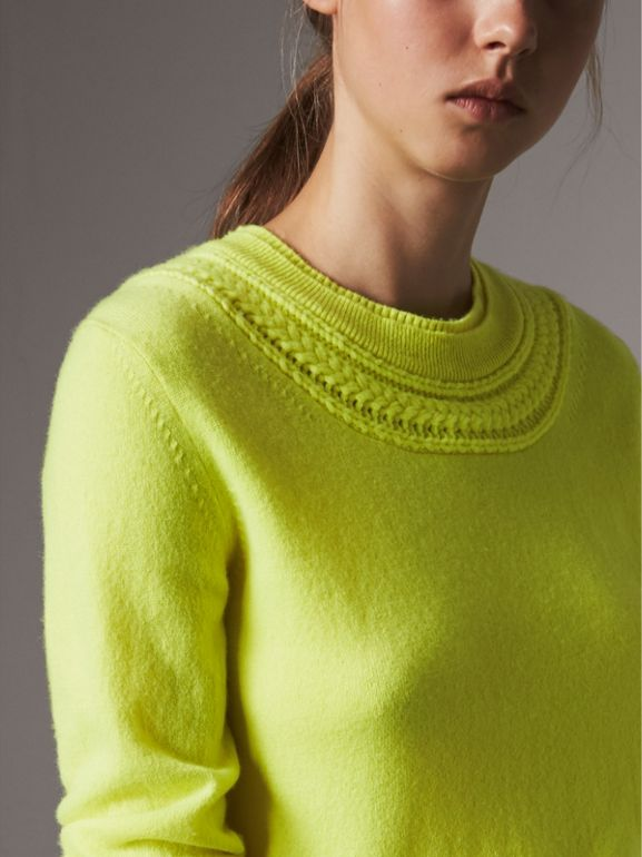 Cable Knit Yoke Cashmere Sweater in Fluorescent Yellow - Women | Burberry - cell image 1