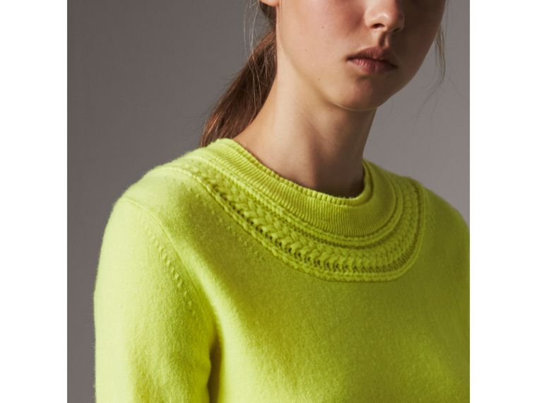 Cable Knit Yoke Cashmere Sweater in Fluorescent Yellow - Women | Burberry Hong Kong - cell image 1