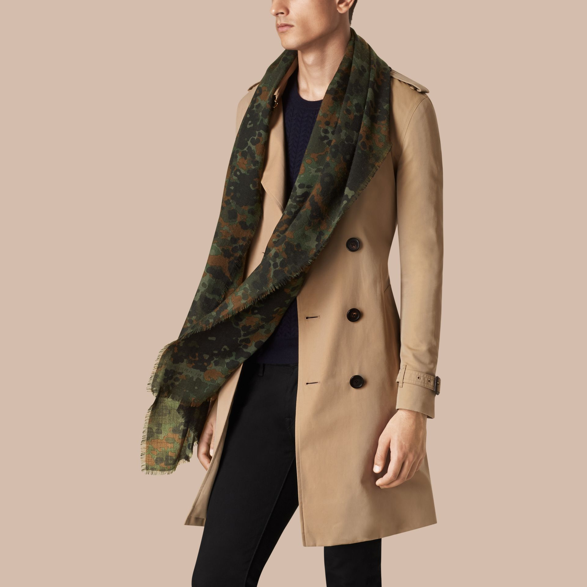 Dark cedar green The Lightweight Cashmere Scarf in Camouflage Print - gallery image 3
