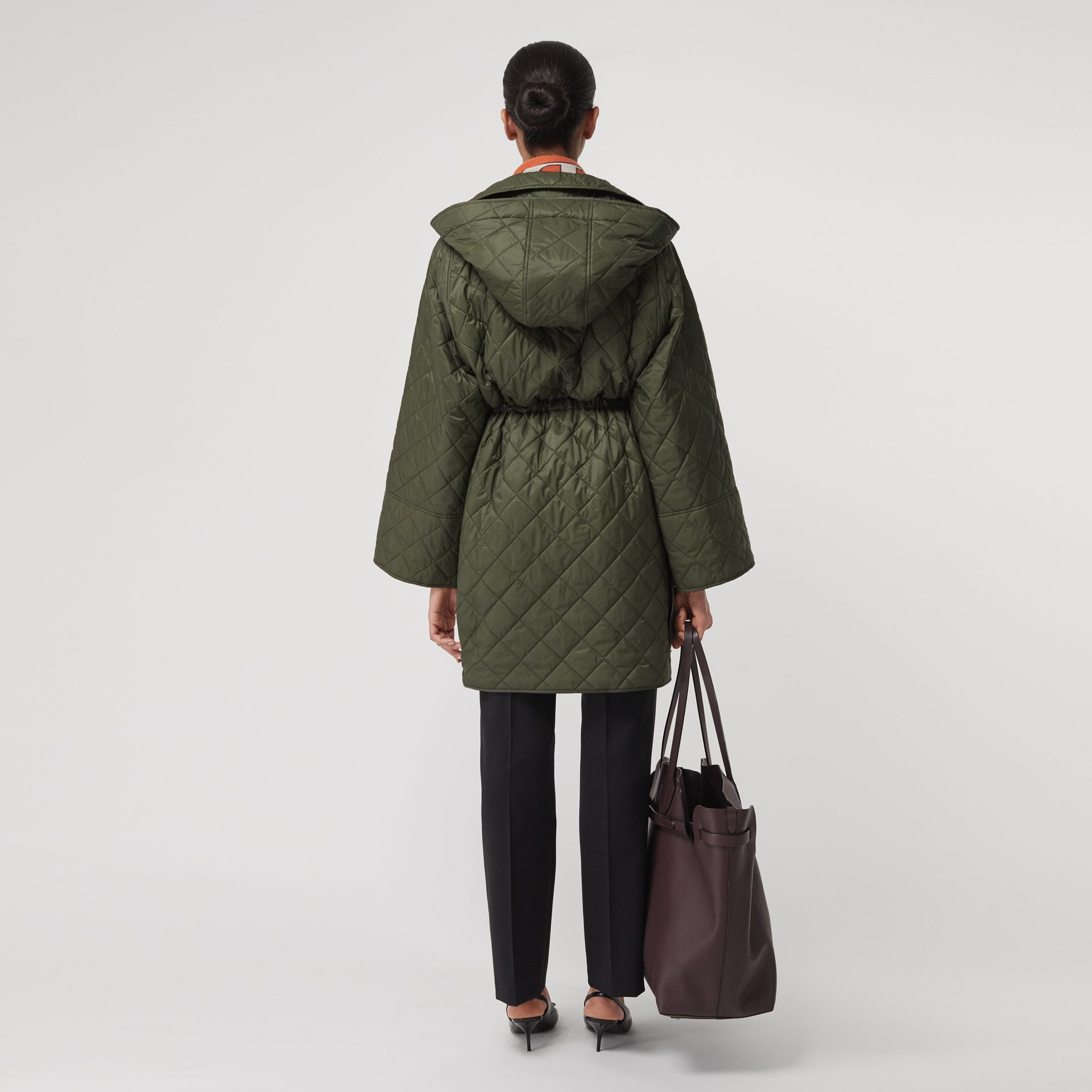 Lightweight Diamond Quilted Hooded Coat in Cadet Green - Women | Burberry United Kingdom - gallery image 2