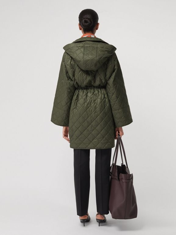 Lightweight Diamond Quilted Hooded Coat in Cadet Green - Women | Burberry Canada - cell image 1