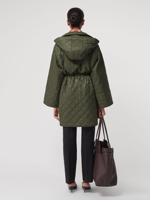 Lightweight Diamond Quilted Hooded Coat in Cadet Green - Women | Burberry United Kingdom - cell image 2