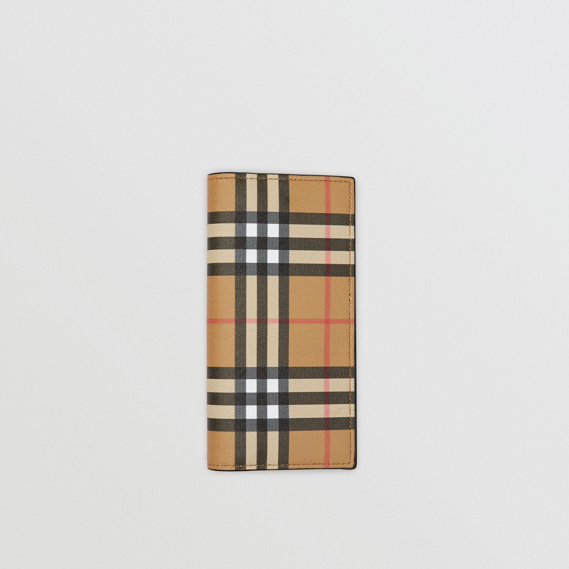 Vintage Check and Leather Continental Wallet in Antique Yellow/black - Men | Burberry - gallery image 0