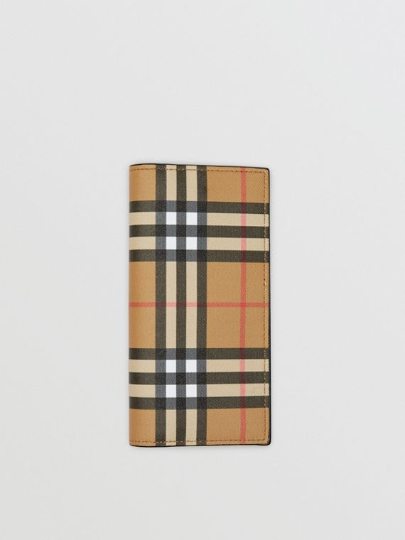 Vintage Check and Leather Continental Wallet in Antique Yellow/black