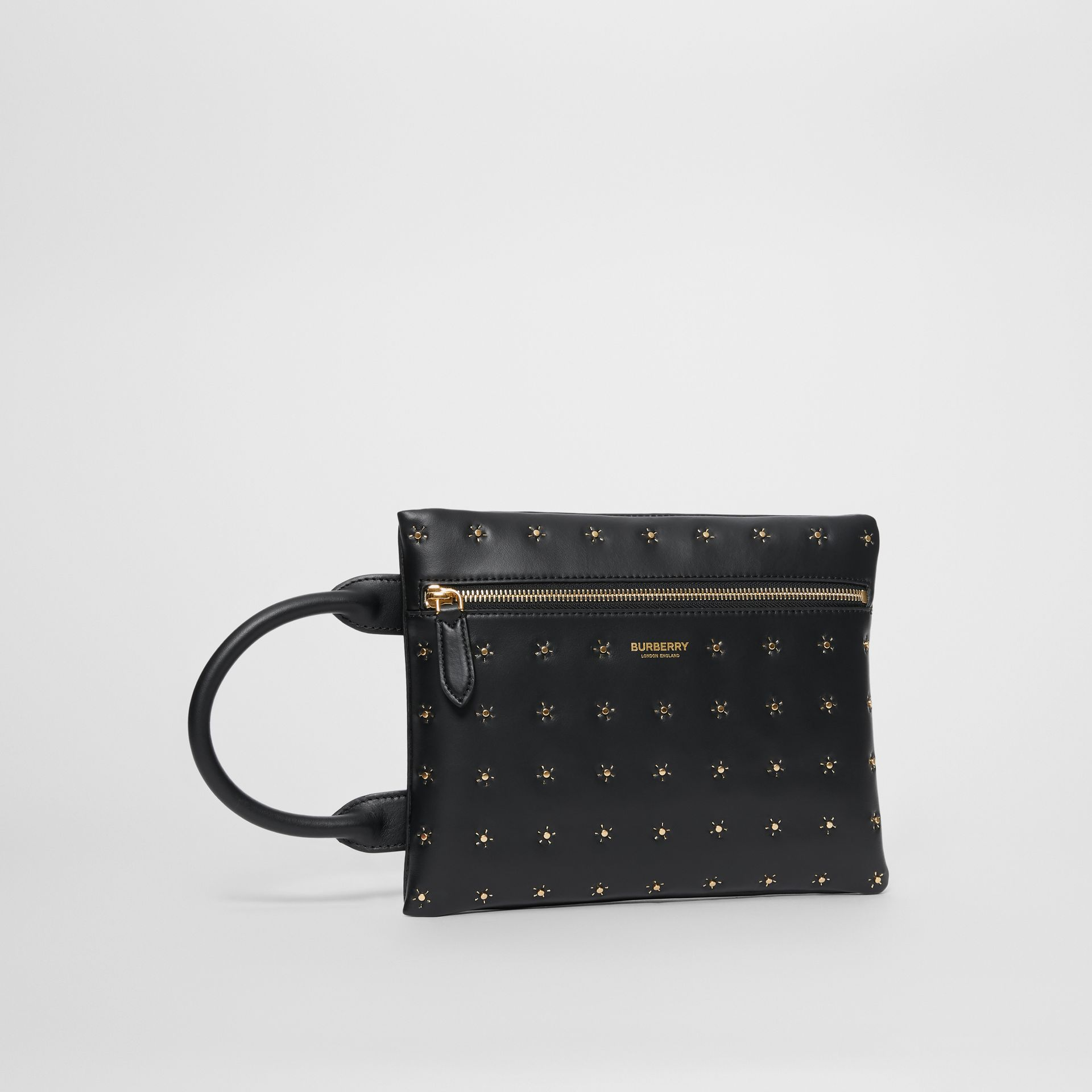 Studded Leather Portrait Pouch in Black | Burberry - gallery image 6