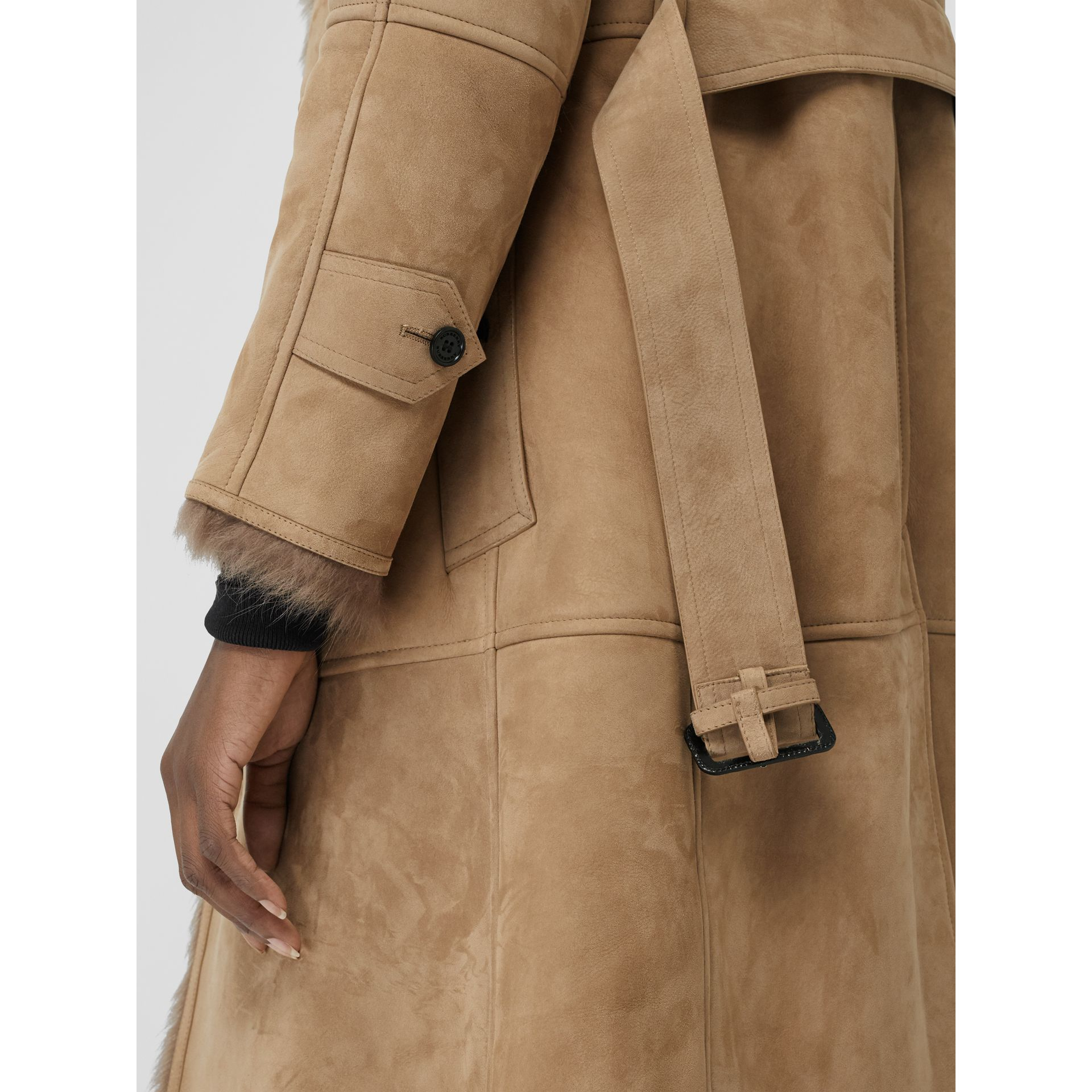 Shearling Car Coat in Camel - Women | Burberry - gallery image 1