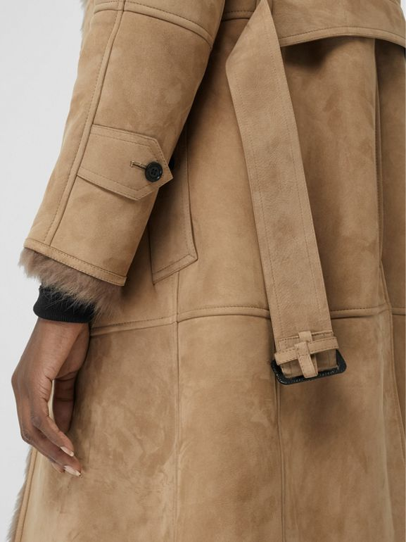 Shearling Car Coat in Camel - Women | Burberry - cell image 1