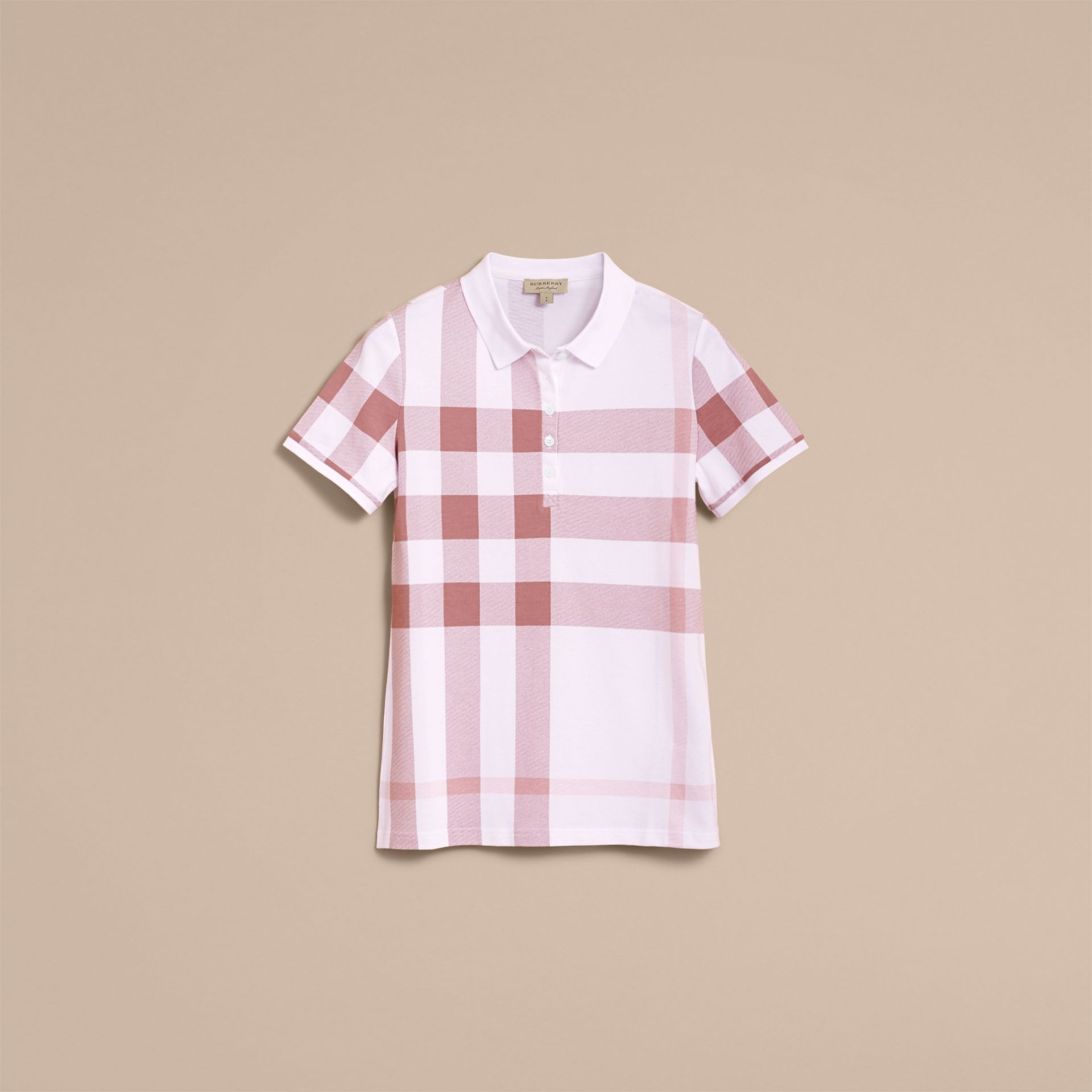 Check Stretch Cotton Piqué Polo Shirt in Antique Rose - Women | Burberry - gallery image 3