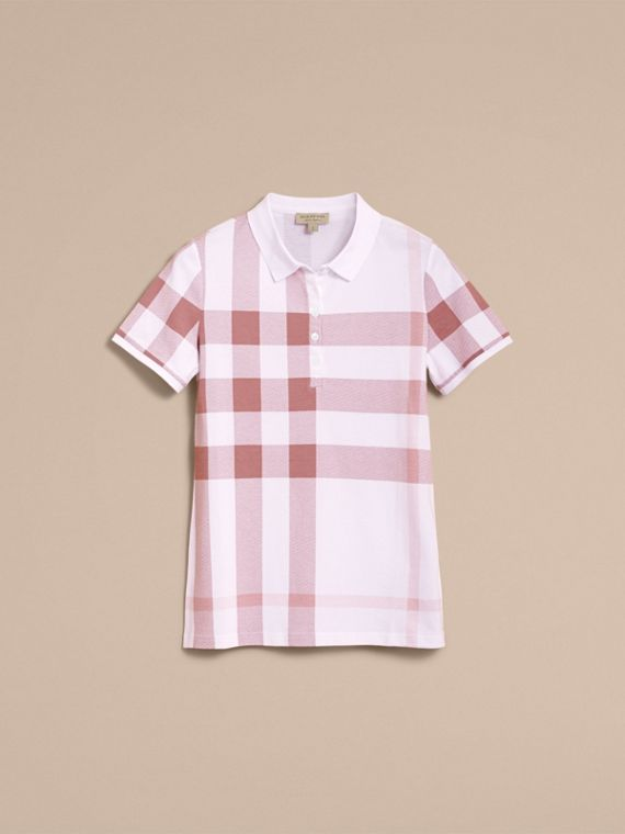 Check Stretch Cotton Piqué Polo Shirt in Antique Rose - Women | Burberry - cell image 3