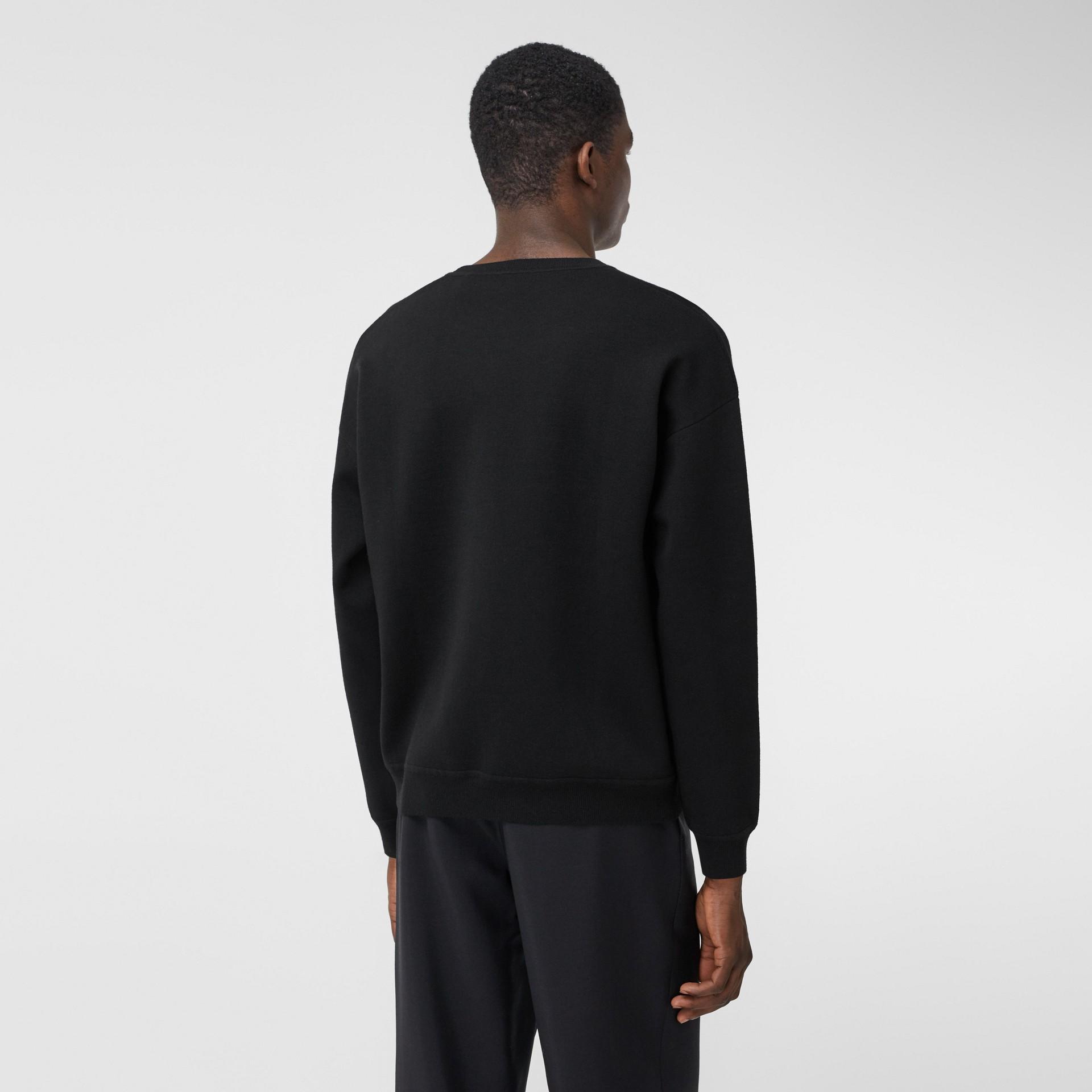 Slogan Intarsia Merino Wool Blend Sweater in Black - Men | Burberry Canada - gallery image 2