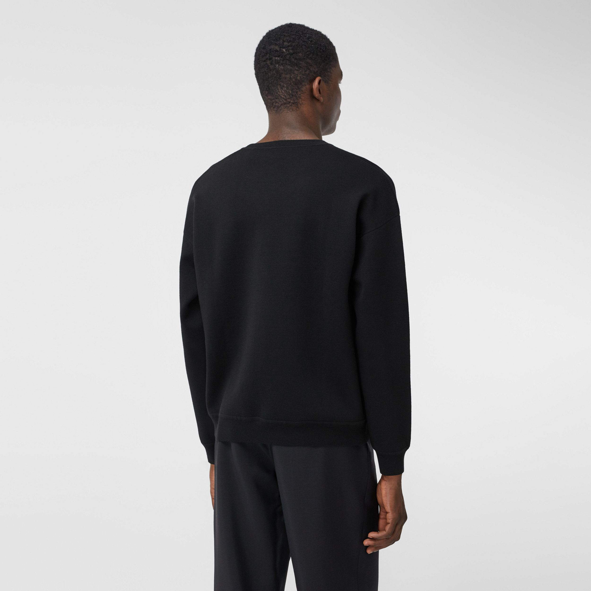 Slogan Intarsia Merino Wool Blend Sweater in Black - Men | Burberry - 3