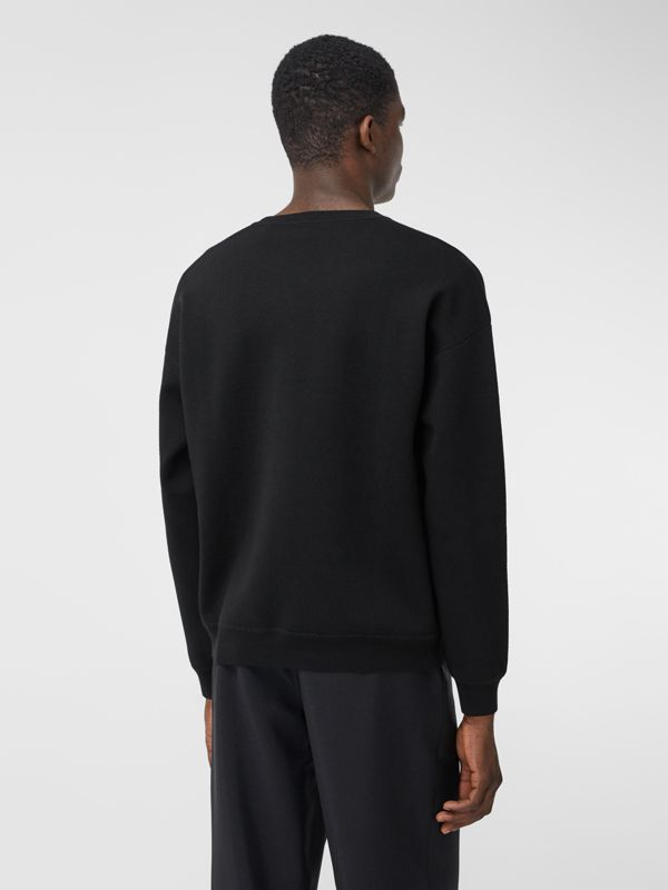 Slogan Intarsia Merino Wool Blend Sweater in Black - Men | Burberry - cell image 2