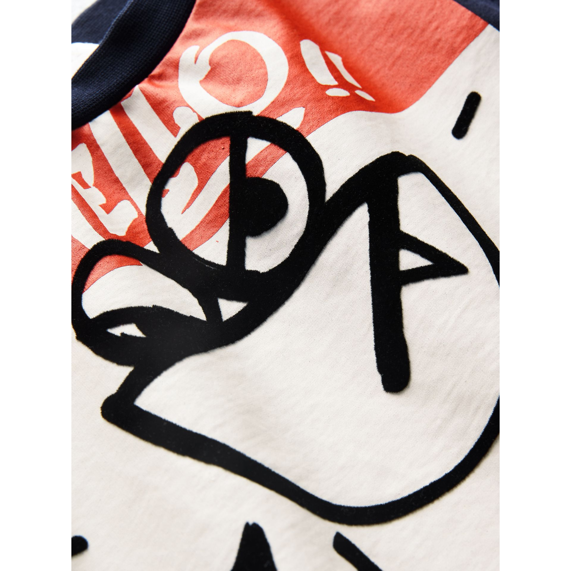 Graffiti Ticket Print Cotton T-shirt in Navy | Burberry - gallery image 1