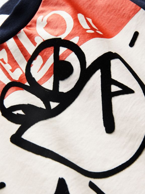 Graffiti Ticket Print Cotton T-shirt in Navy | Burberry - cell image 1