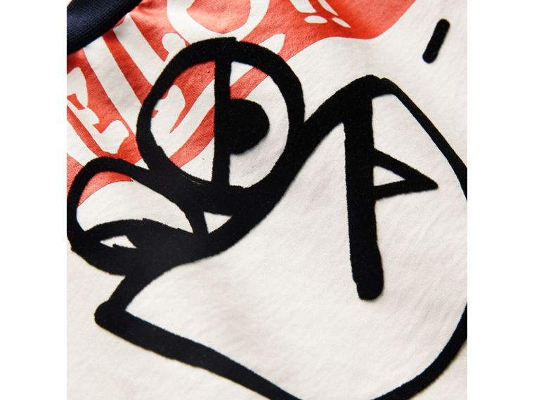 Graffiti Ticket Print Cotton T-shirt in Navy - Boy | Burberry - cell image 1
