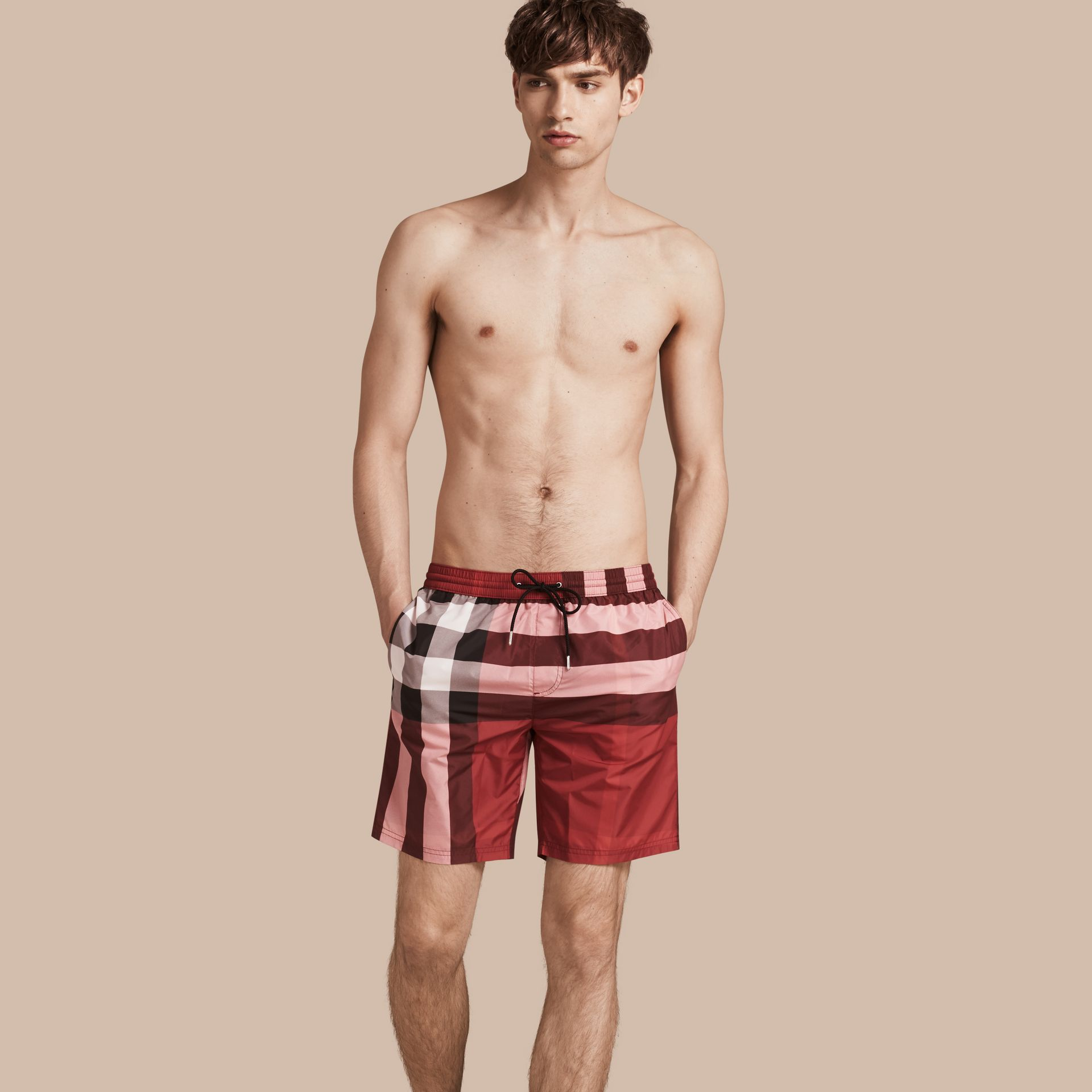 Check Swim Shorts in Parade Red - Men | Burberry - gallery image 1