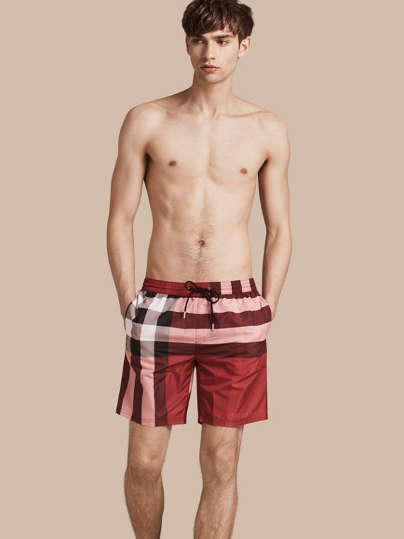 Check Swim Shorts Parade Red