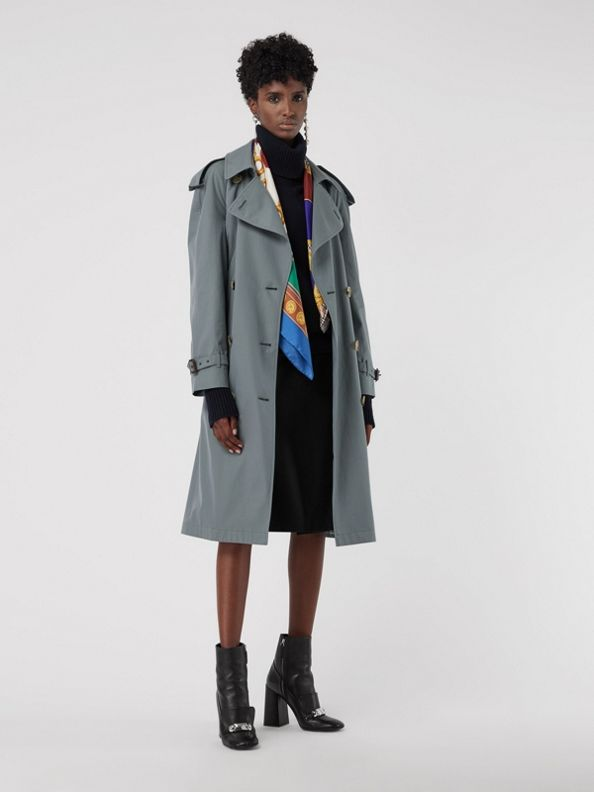 Wool-lined Tropical Gabardine Trench Coat in Dusty Blue