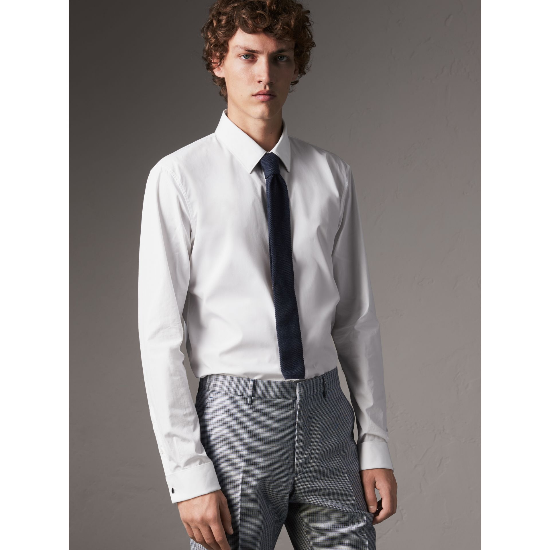 Slim Fit Double-cuff Cotton Poplin Shirt in White - Men | Burberry United Kingdom - gallery image 1