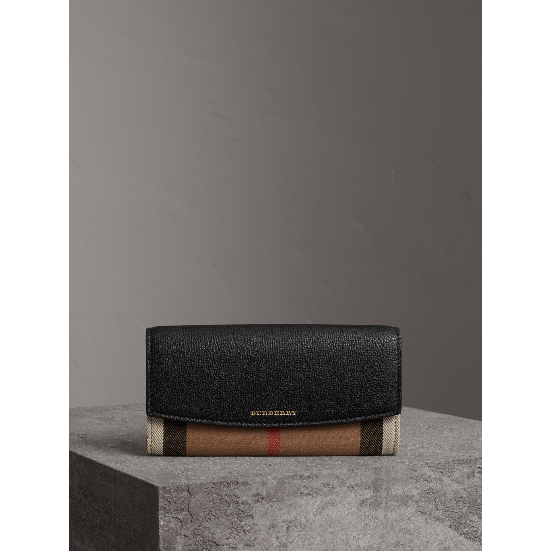 House Check And Leather Continental Wallet in Black - Women | Burberry Australia - gallery image 4