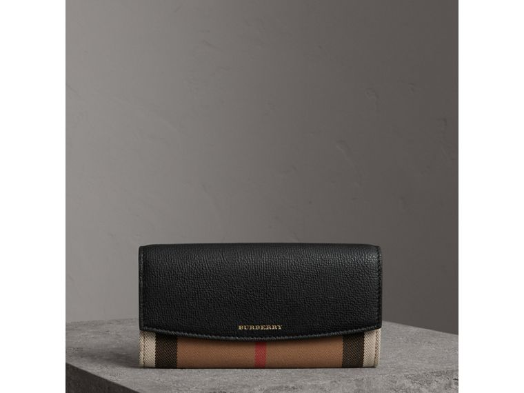 House Check And Leather Continental Wallet in Black - Women | Burberry - cell image 4