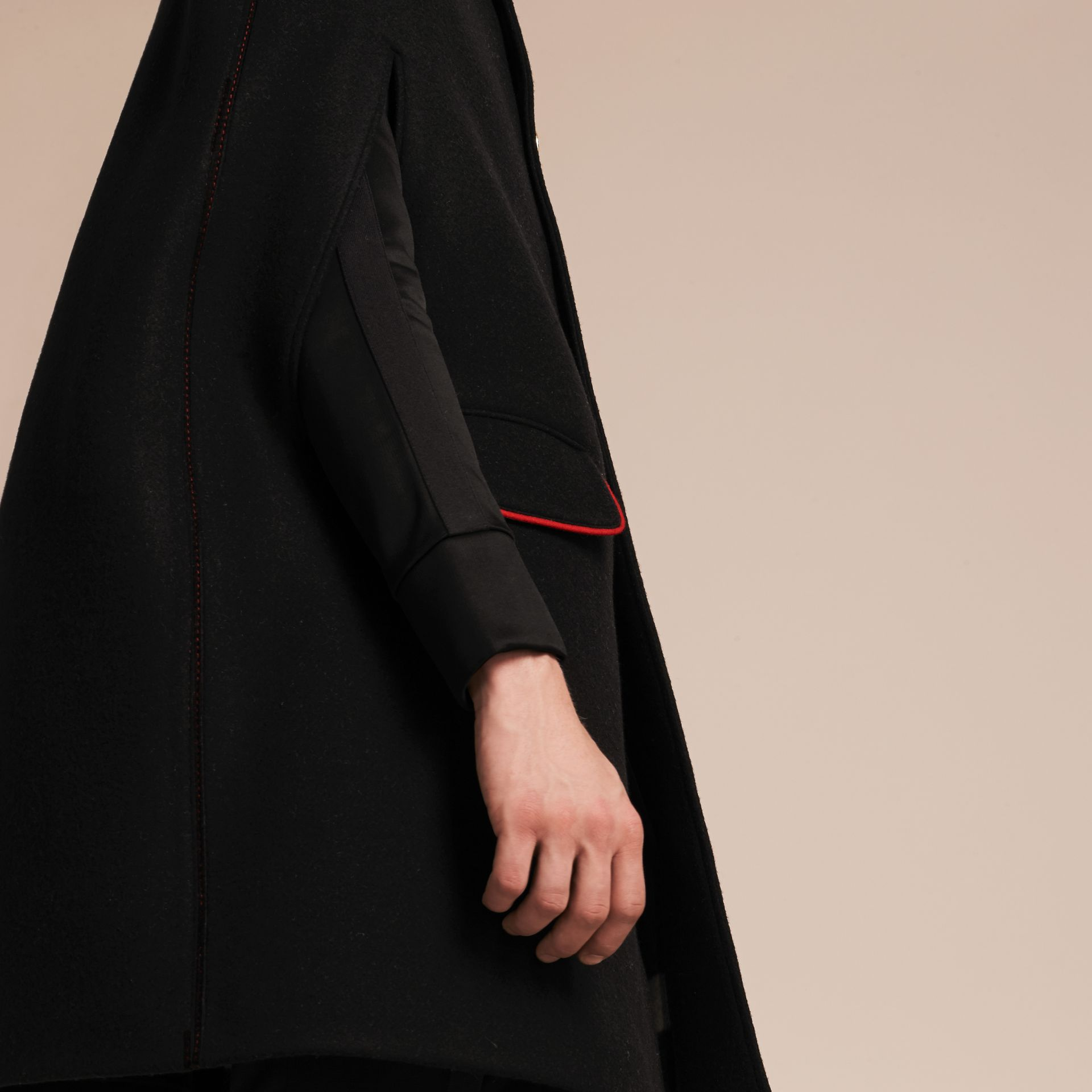 Black Wool Cashmere Blend Military Cape Coat - gallery image 5
