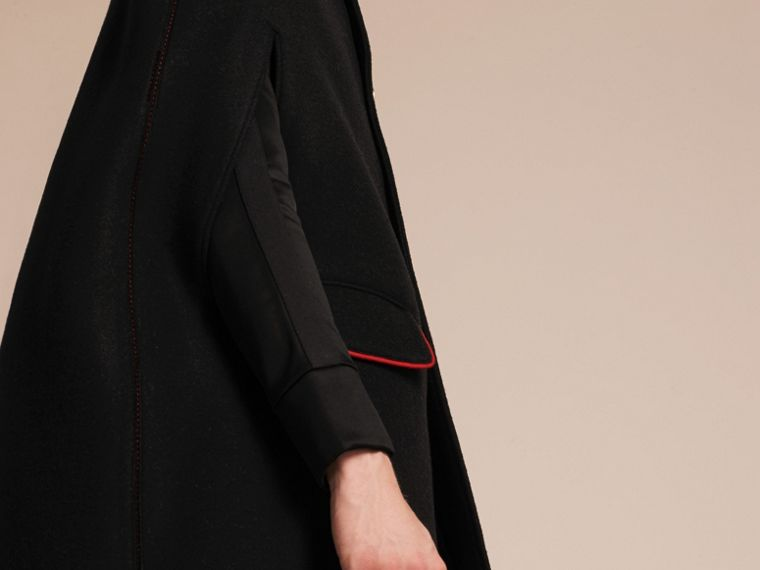 Black Wool Cashmere Blend Military Cape Coat - cell image 4
