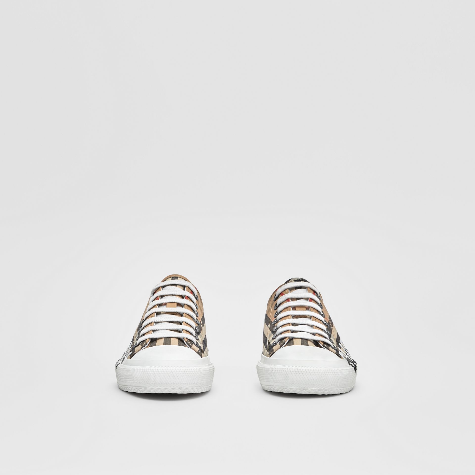 Logo Print Vintage Check Cotton Sneakers in Archive Beige - Women | Burberry - gallery image 2