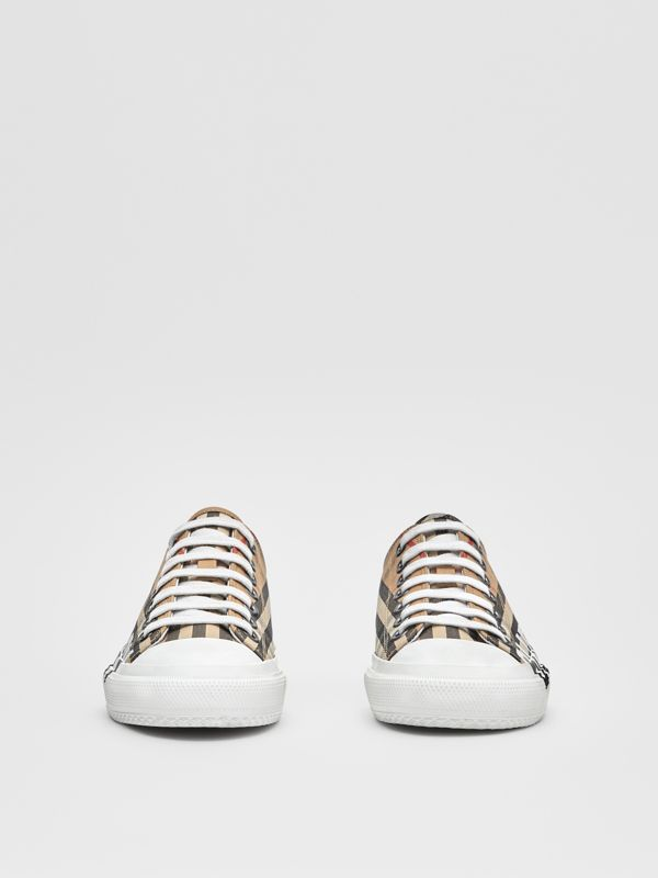 Logo Print Vintage Check Cotton Sneakers in Archive Beige - Women | Burberry - cell image 2