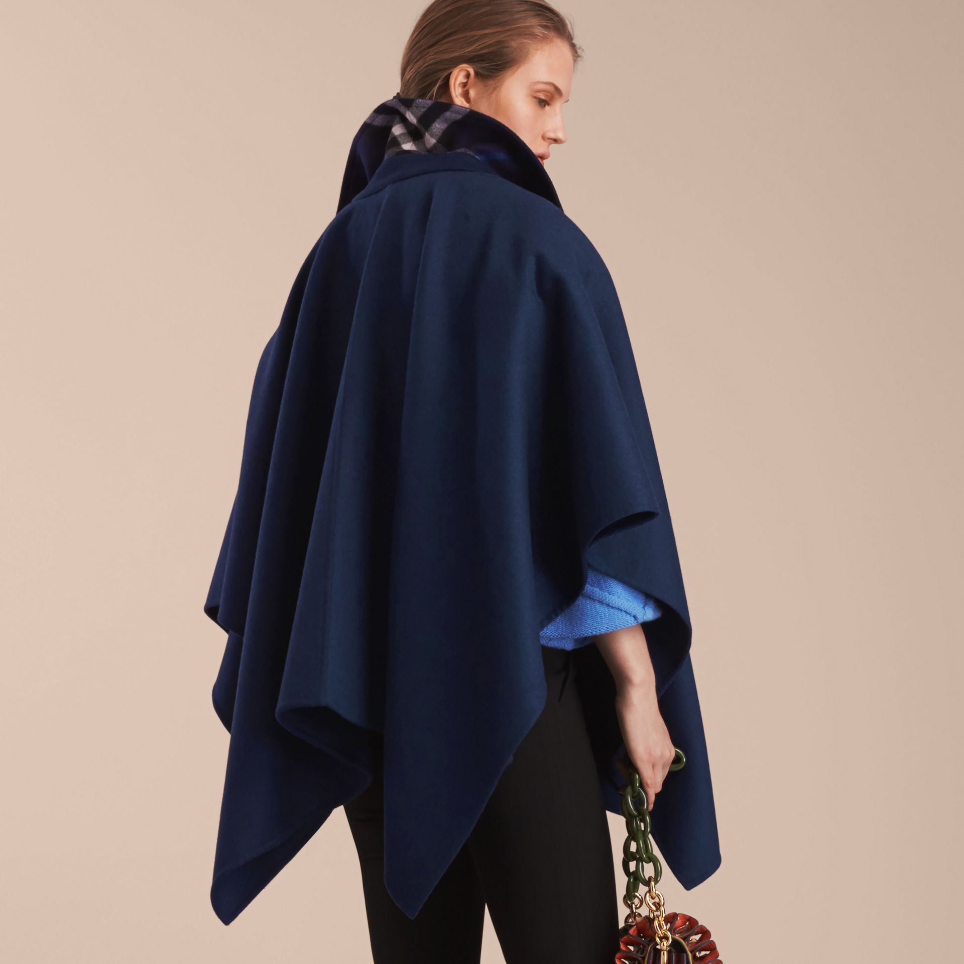 Military Button Wool Cashmere Blend Cape in Navy - gallery image 3