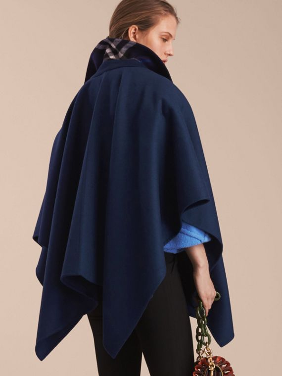 Military Button Wool Cashmere Blend Cape in Navy - cell image 2
