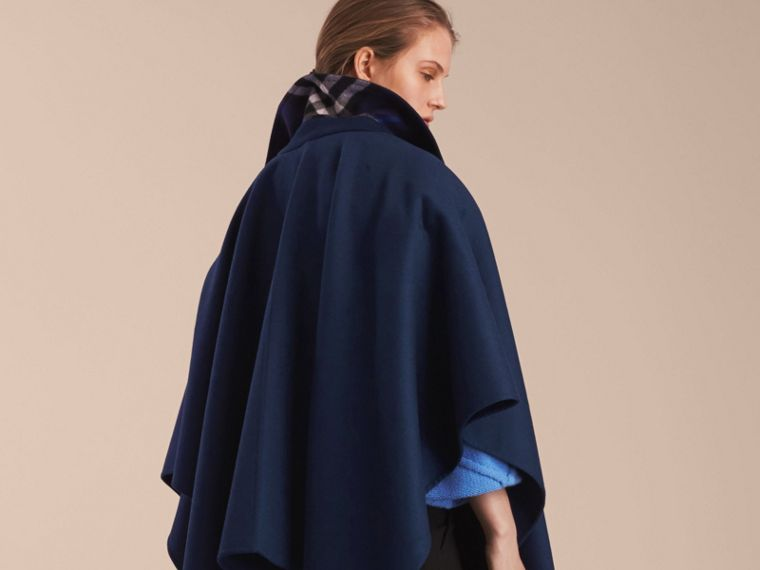 Navy Military Button Wool Cashmere Blend Cape Navy - cell image 1