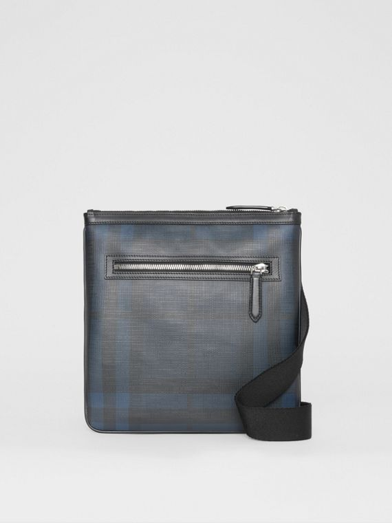 Leather Trim London Check Crossbody Bag in Navy/black