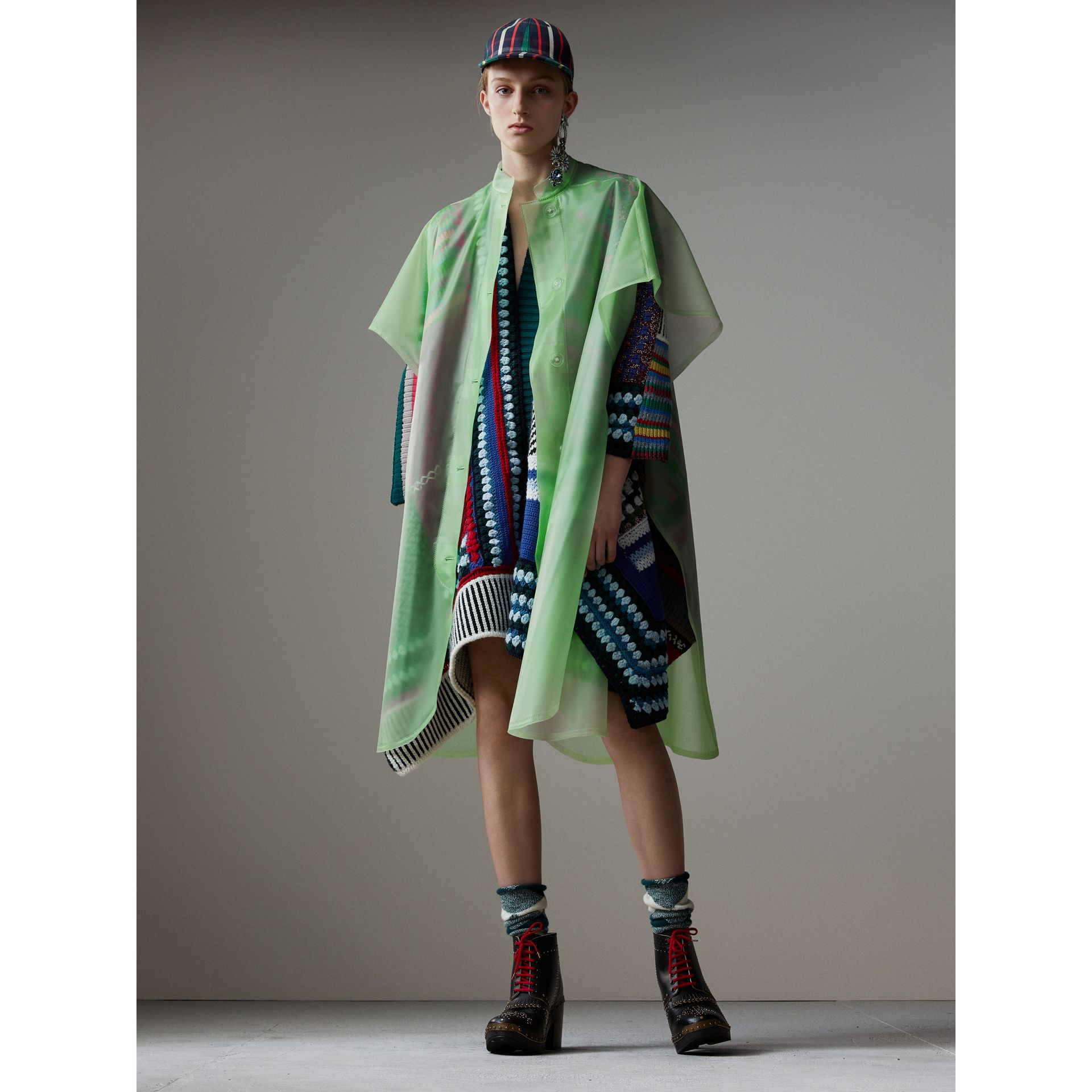Soft-touch Plastic Poncho in Mint Green - Women | Burberry - gallery image 0