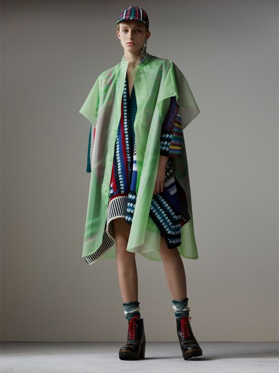 Soft-touch Plastic Poncho in Mint Green
