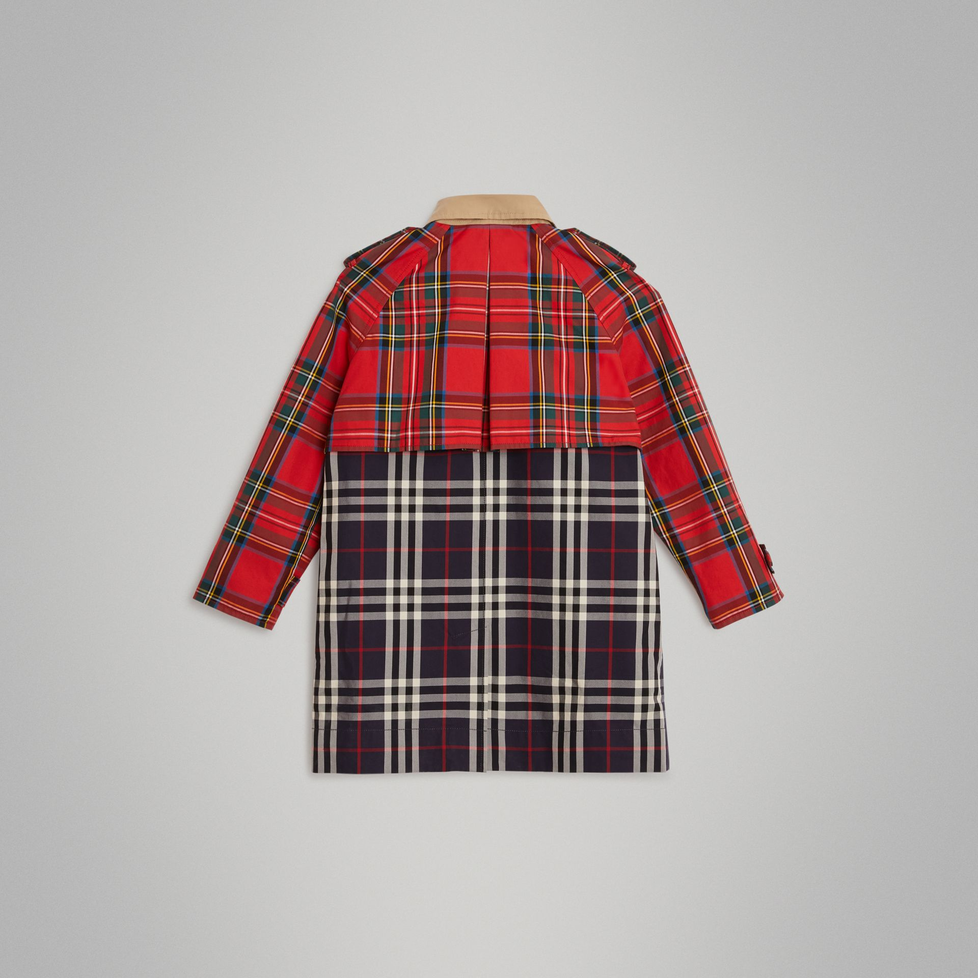 Tartan and Check Tropical Gabardine Coat in Navy | Burberry United Kingdom - gallery image 3