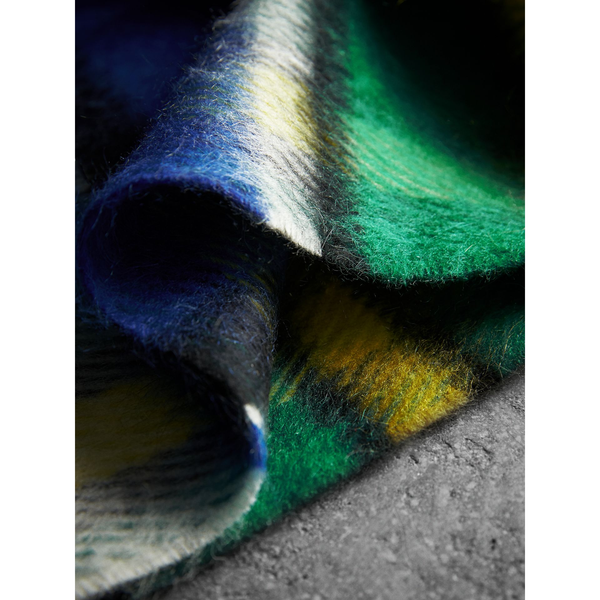 Long Check Wool Mohair Blend Scarf in Cobalt Blue | Burberry United Kingdom - gallery image 1