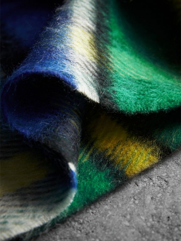 Long Check Wool Mohair Blend Scarf in Cobalt Blue | Burberry - cell image 1