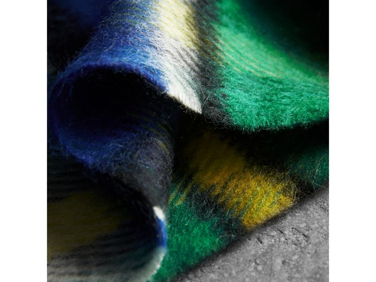 Long Check Wool Mohair Blend Scarf in Cobalt Blue | Burberry United Kingdom - cell image 1