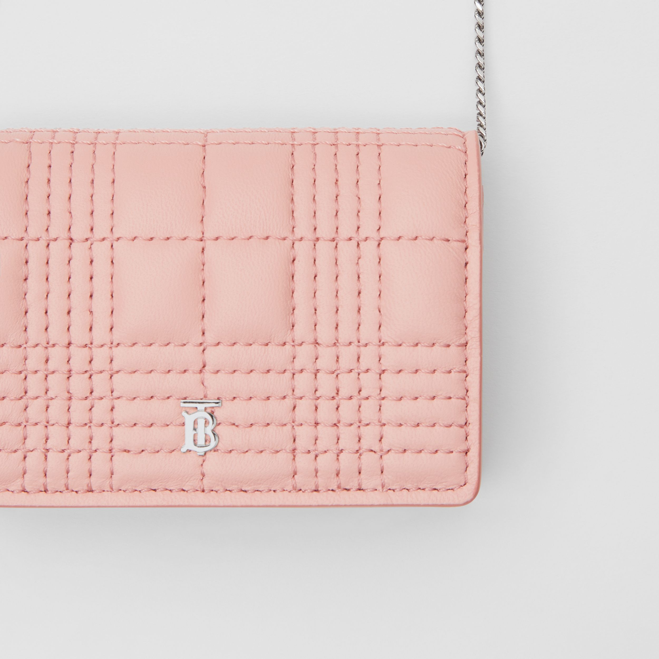 Quilted Lambskin Card Case with Detachable Strap in Blush Pink | Burberry - 2