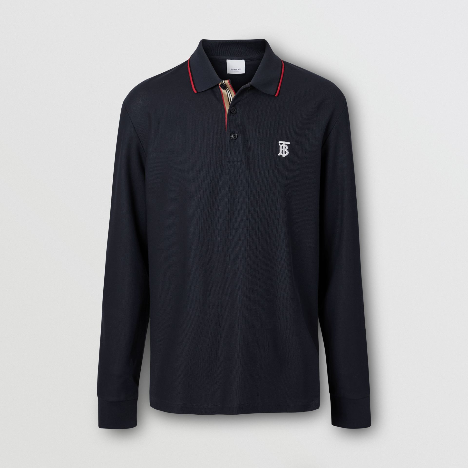 Long-sleeve Monogram Motif Cotton Piqué Polo Shirt in Navy - Men | Burberry - gallery image 3