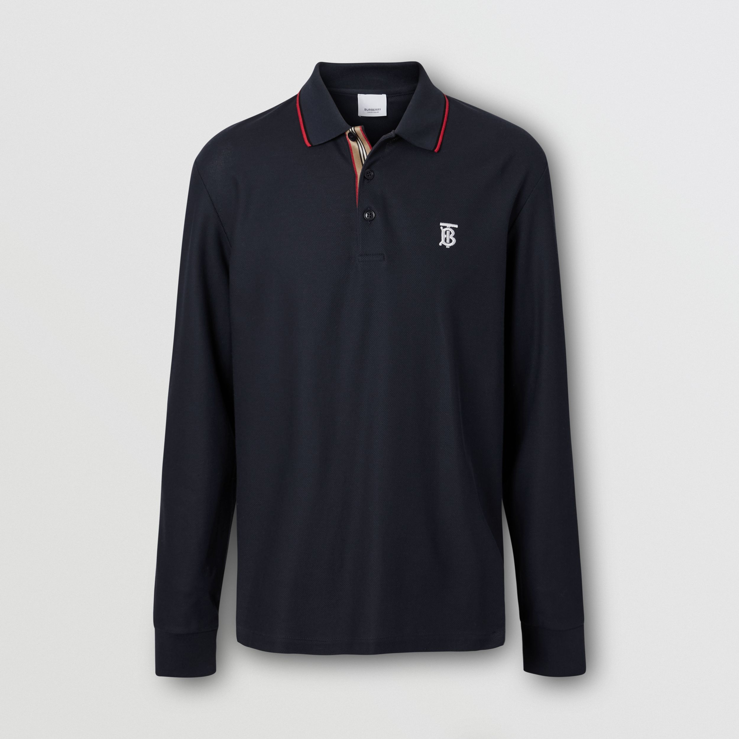 Long-sleeve Monogram Motif Cotton Piqué Polo Shirt in Navy - Men | Burberry - 4