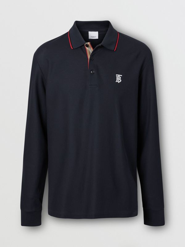 Long-sleeve Monogram Motif Cotton Piqué Polo Shirt in Navy - Men | Burberry Hong Kong S.A.R - cell image 3