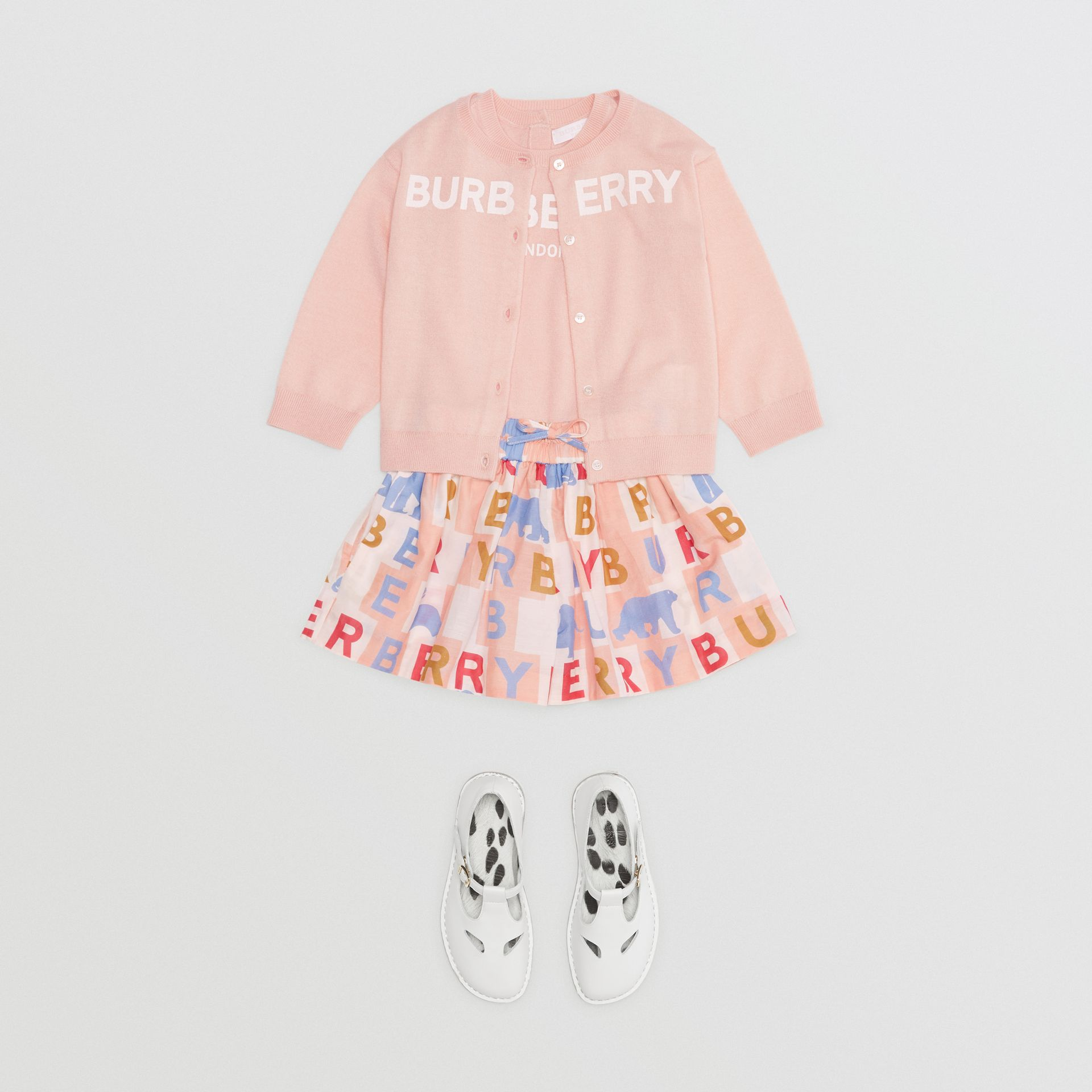 Logo Print Cotton Silk Drawcord Shorts in Pale Rose - Children | Burberry Australia - gallery image 2